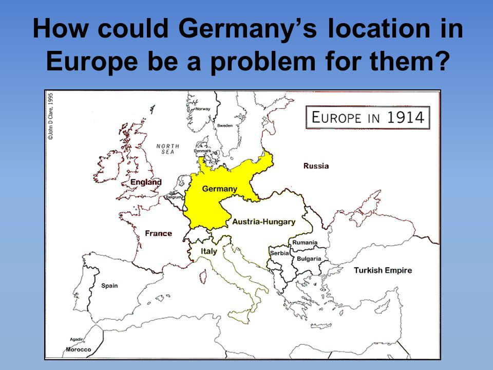 How could Germany's location in Europe be a problem for them