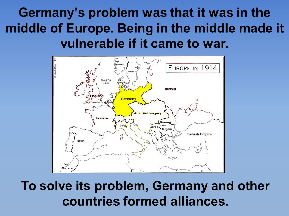 To solve its problem, Germany and other countries formed alliances.