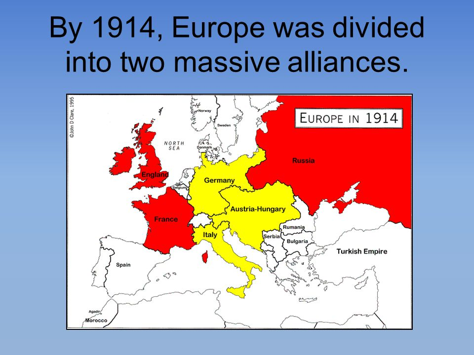 By 1914, Europe was divided into two massive alliances.