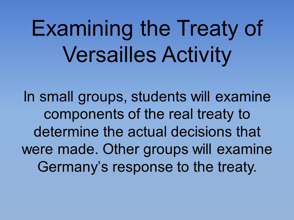 Examining the Treaty of Versailles Activity