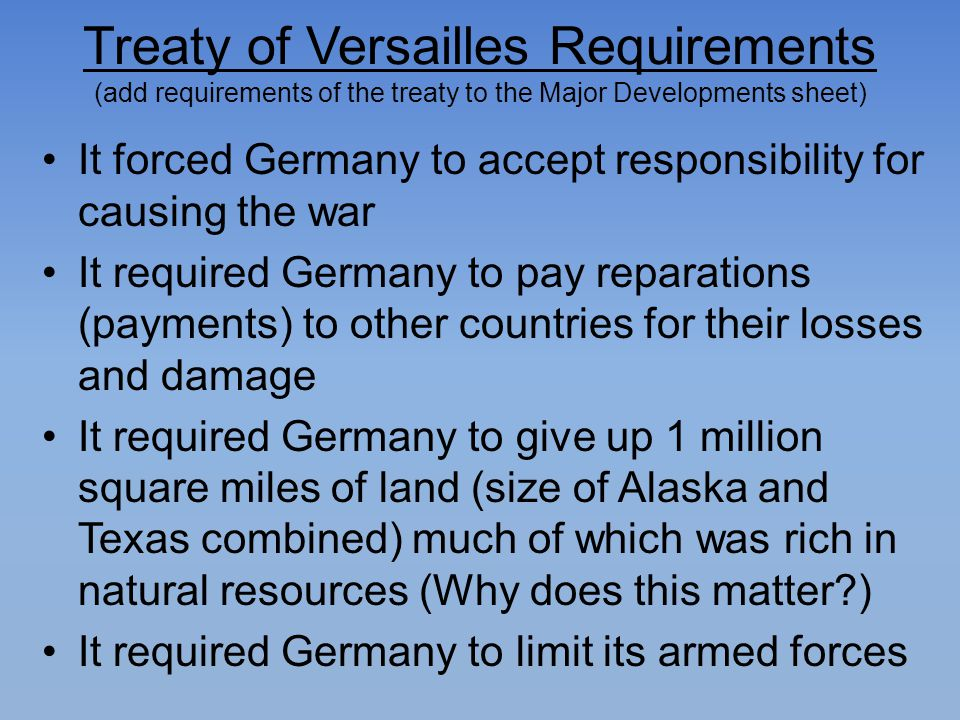 Treaty of Versailles Requirements (add requirements of the treaty to the Major Developments sheet)