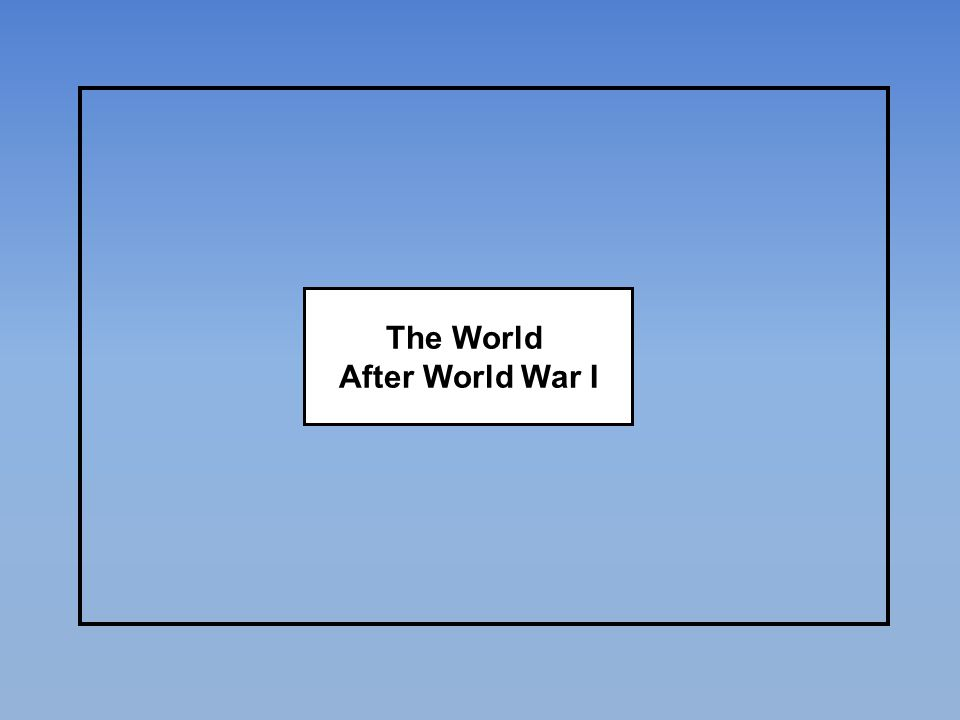 The World After World War I
