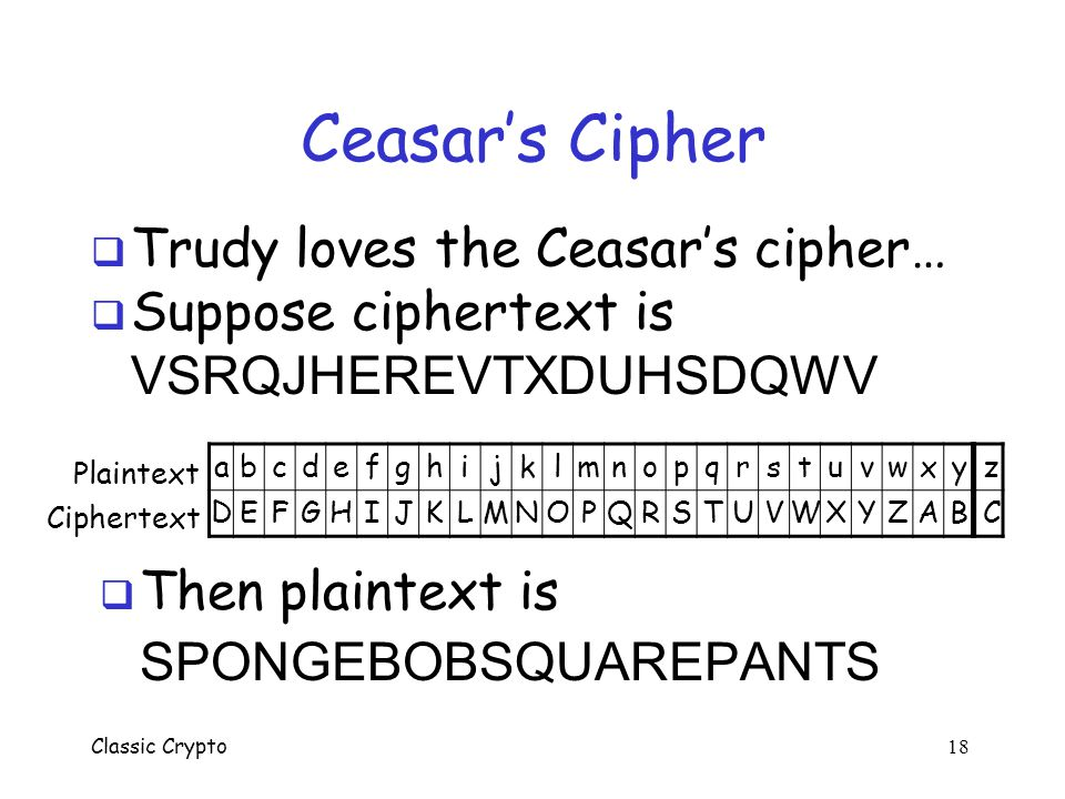 Ceasar's Cipher Trudy loves the Ceasar's cipher… Suppose ciphertext is
