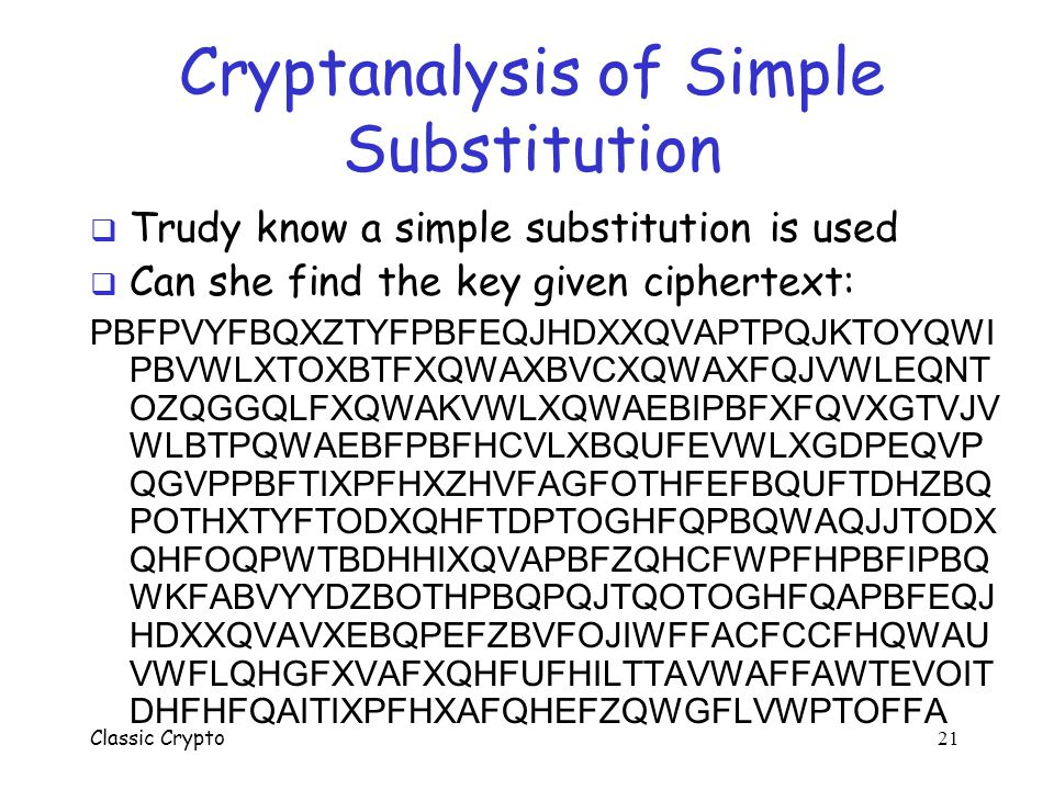 Cryptanalysis of Simple Substitution