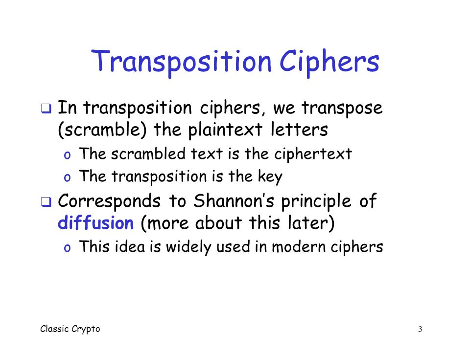 Transposition Ciphers