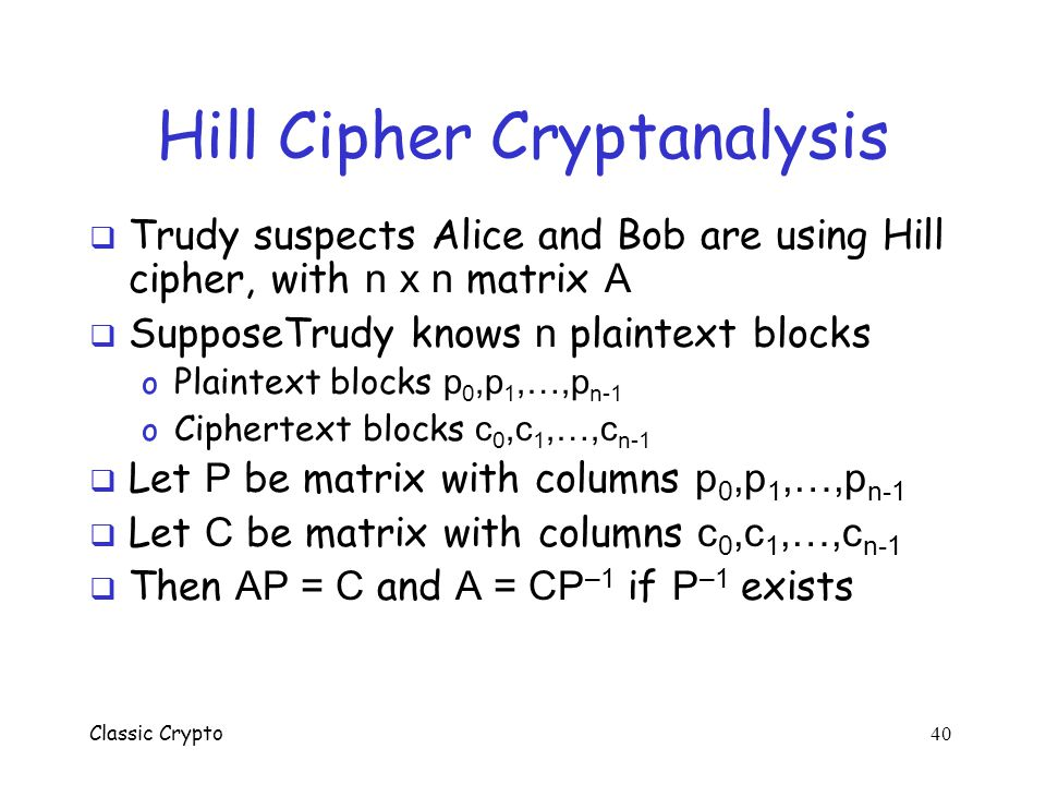 Hill Cipher Cryptanalysis