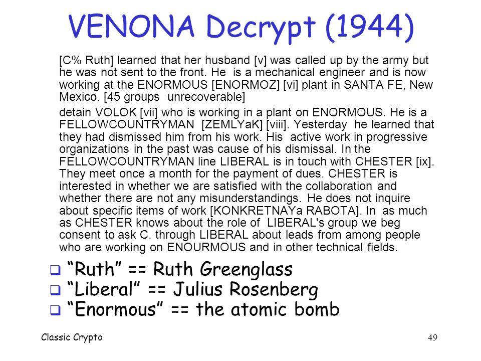 VENONA Decrypt (1944) Ruth == Ruth Greenglass