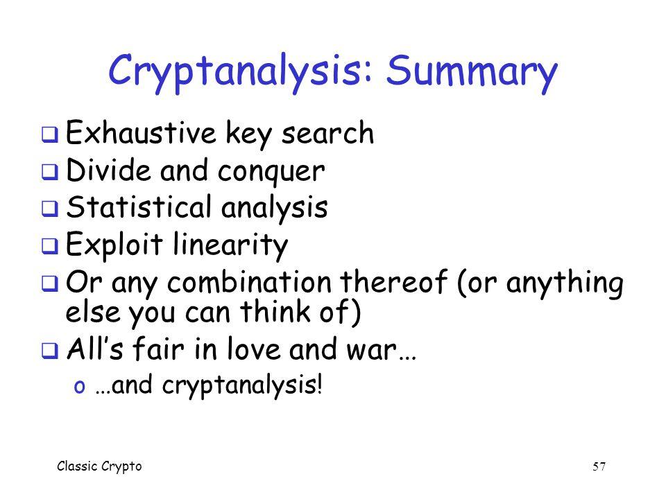 Cryptanalysis: Summary
