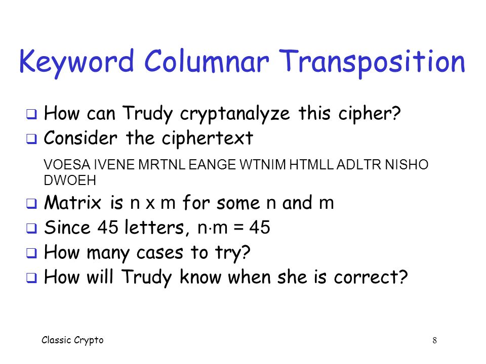 Keyword Columnar Transposition