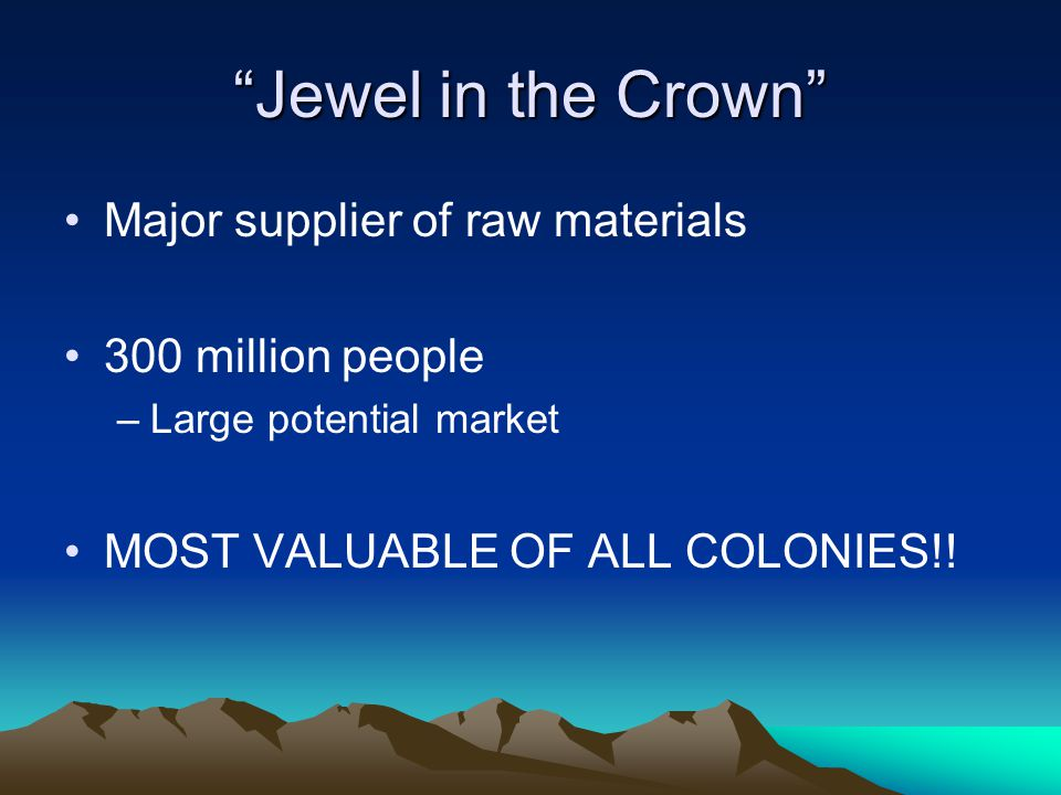 Jewel in the Crown Major supplier of raw materials