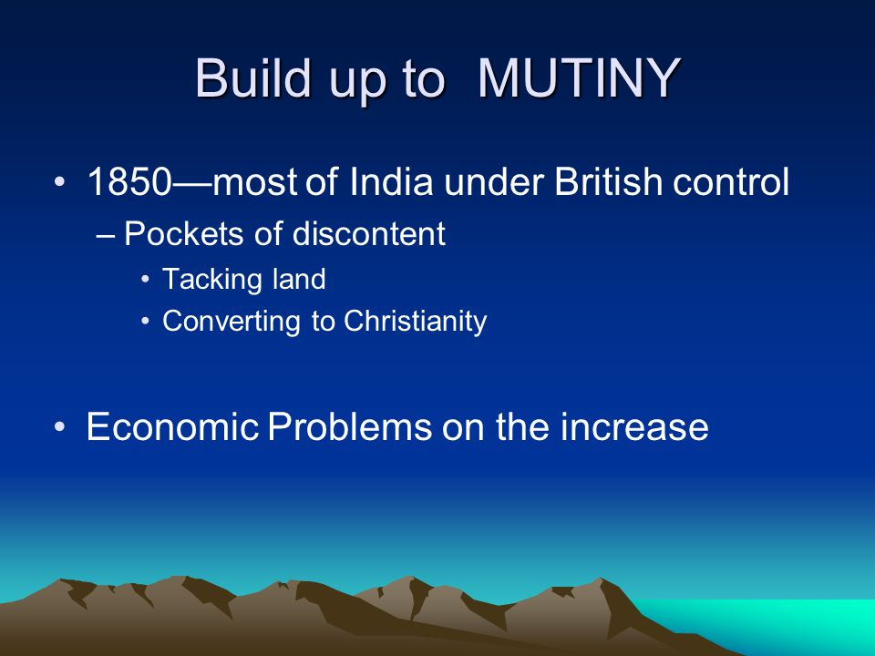 Build up to MUTINY 1850—most of India under British control