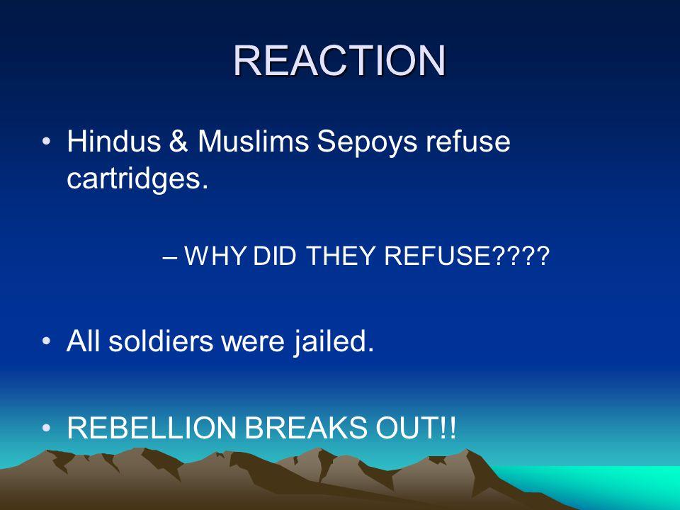 REACTION Hindus & Muslims Sepoys refuse cartridges.
