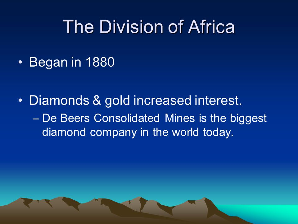 The Division of Africa Began in 1880