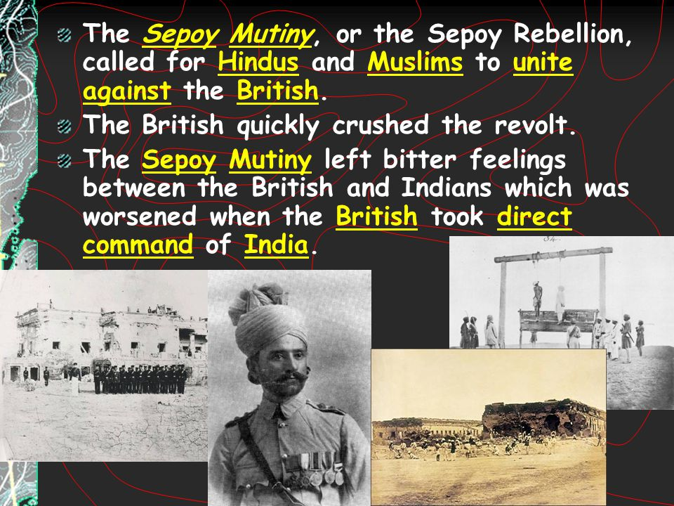 The Sepoy Mutiny, or the Sepoy Rebellion, called for Hindus and Muslims to unite against the British.