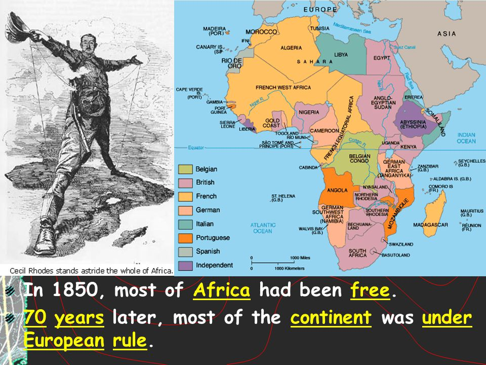 In 1850, most of Africa had been free.