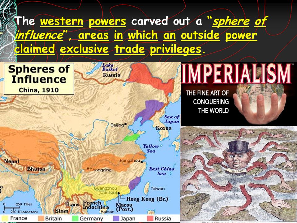 The western powers carved out a sphere of influence , areas in which an outside power claimed exclusive trade privileges.