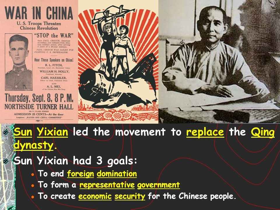 Sun Yixian led the movement to replace the Qing dynasty.