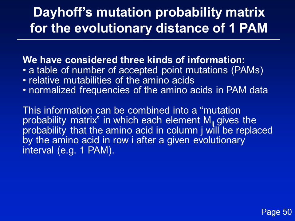 Dayhoff's mutation probability matrix