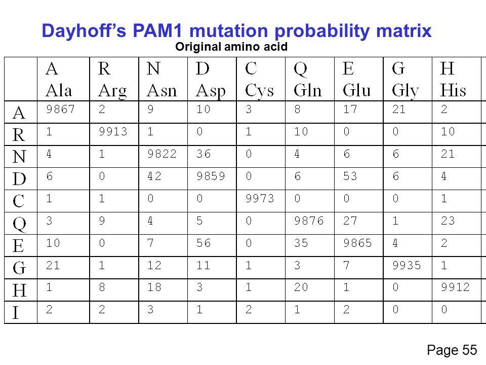 Dayhoff's PAM1 mutation probability matrix