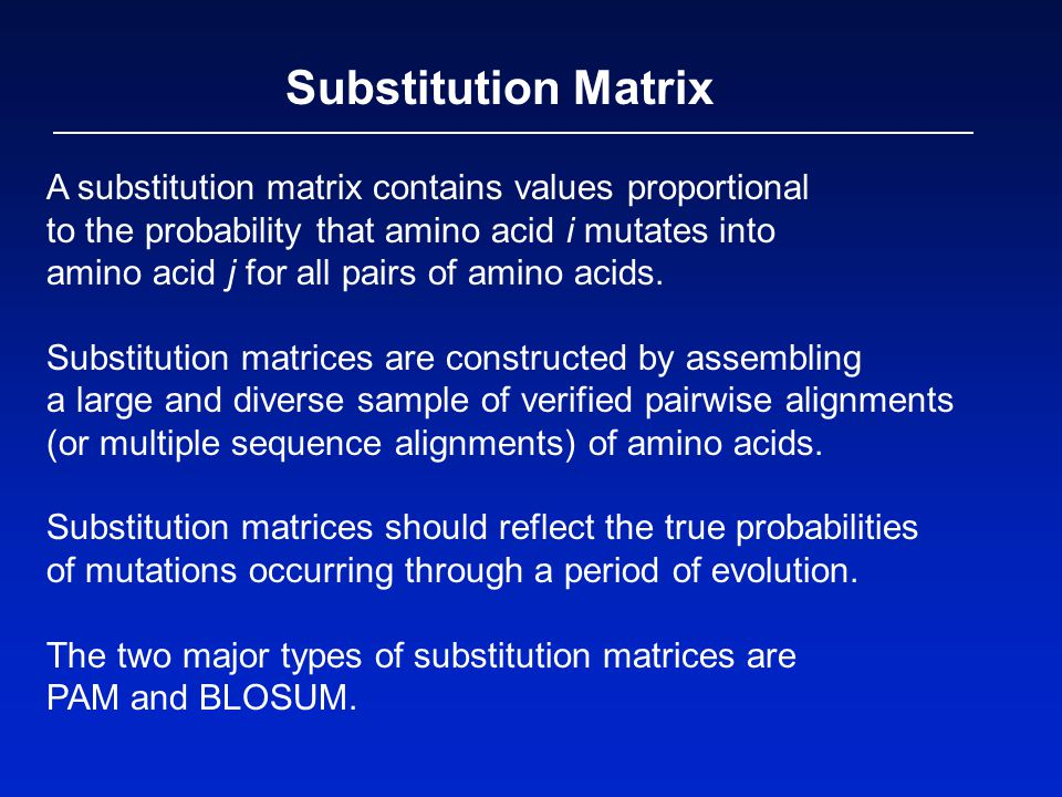 Substitution Matrix A substitution matrix contains values proportional