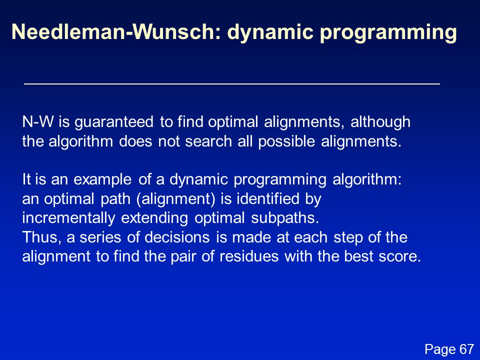 Needleman-Wunsch: dynamic programming