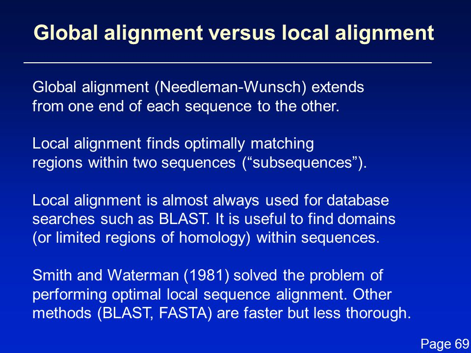 Global alignment versus local alignment
