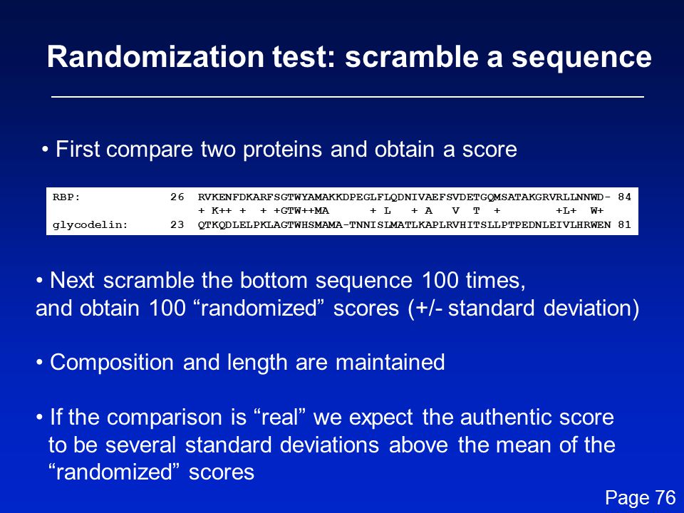 Randomization test: scramble a sequence