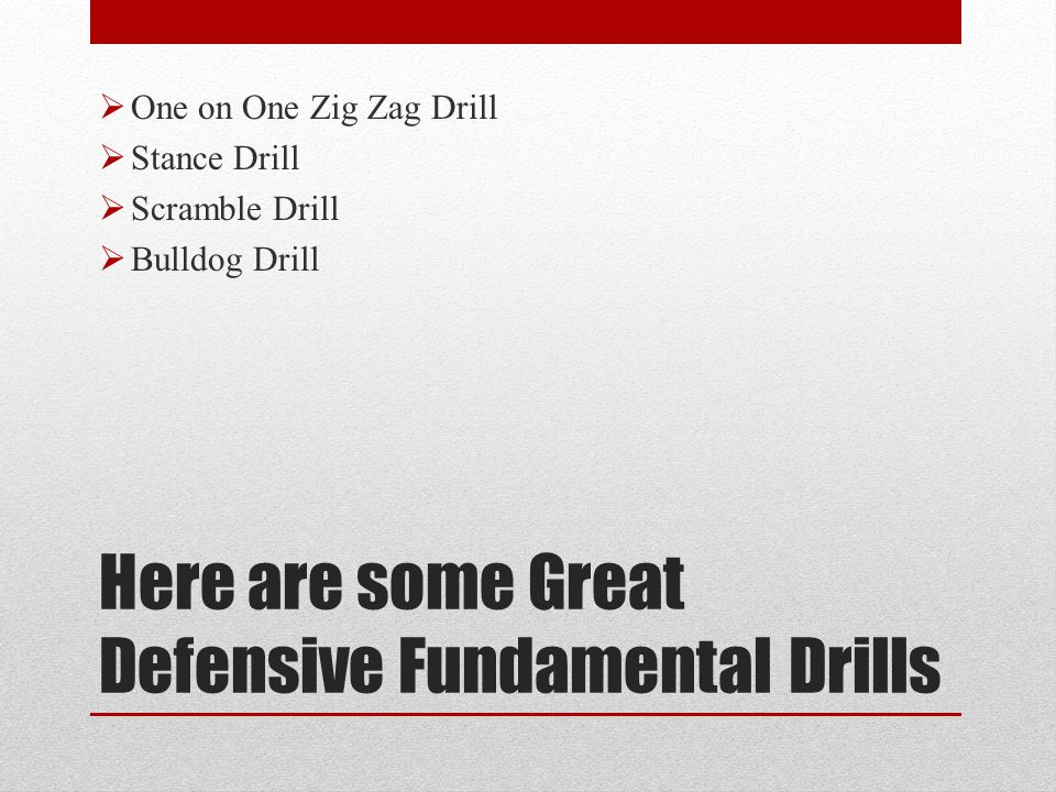 Here are some Great Defensive Fundamental Drills