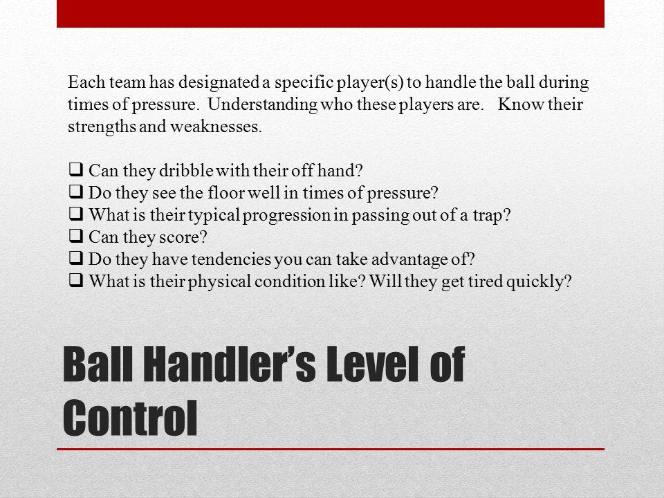 Ball Handler's Level of Control