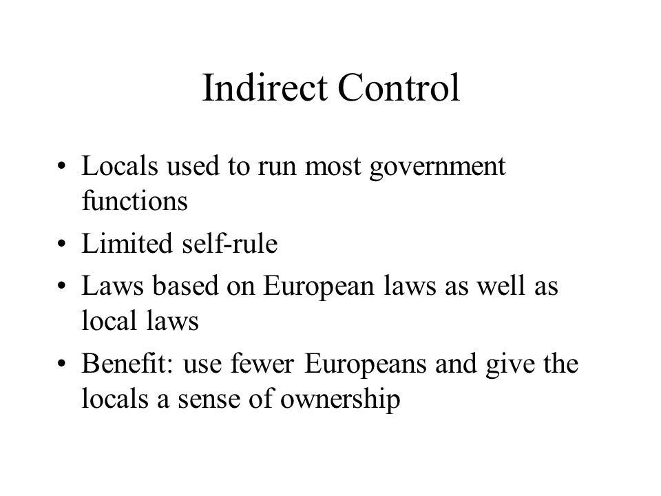 Indirect Control Locals used to run most government functions