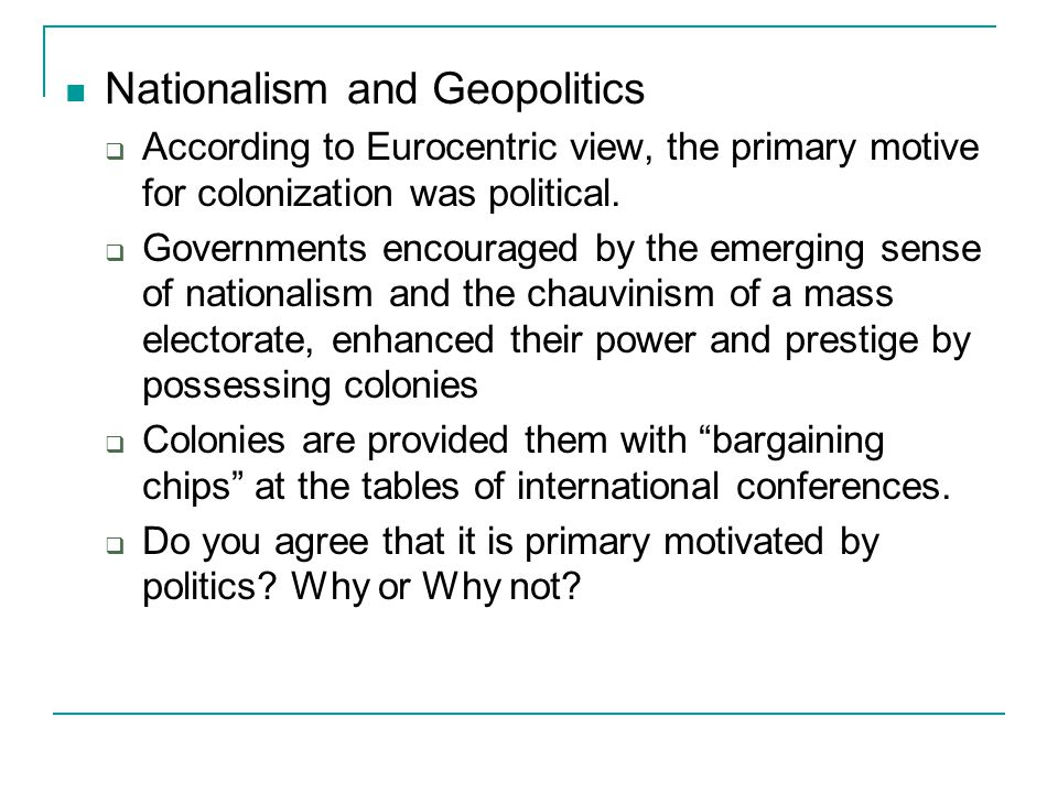 Nationalism and Geopolitics