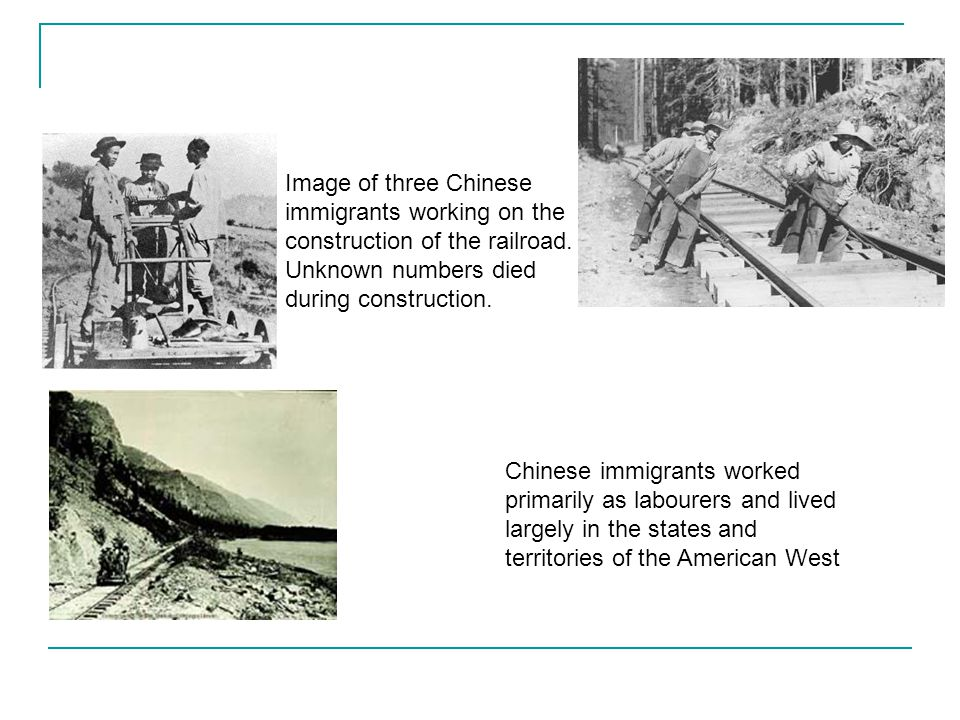 Image of three Chinese immigrants working on the construction of the railroad. Unknown numbers died during construction.