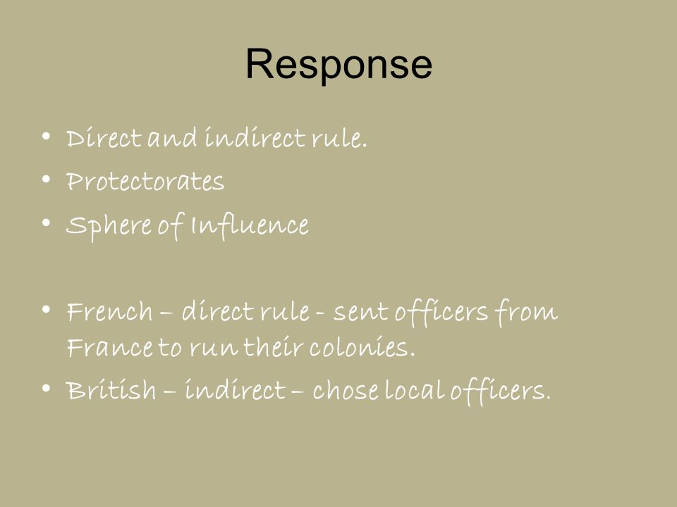 Response Direct and indirect rule. Protectorates Sphere of Influence