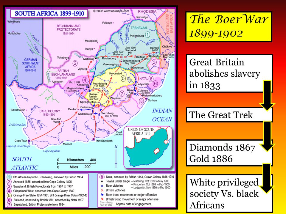 The BoerWar 1899-1902 Great Britain abolishes slavery in 1833