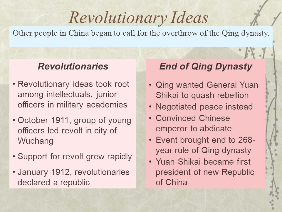 Revolutionary Ideas Revolutionaries End of Qing Dynasty