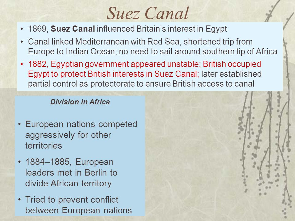 Suez Canal 1869, Suez Canal influenced Britain's interest in Egypt.