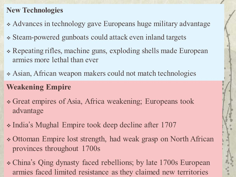 Great empires of Asia, Africa weakening; Europeans took advantage