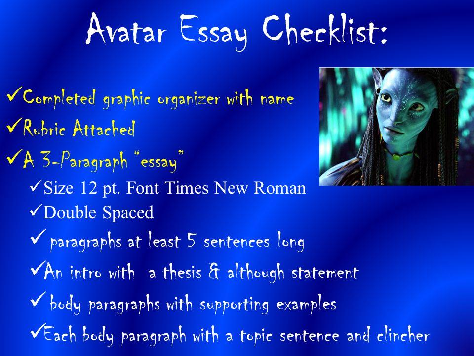 Avatar Essay Checklist: