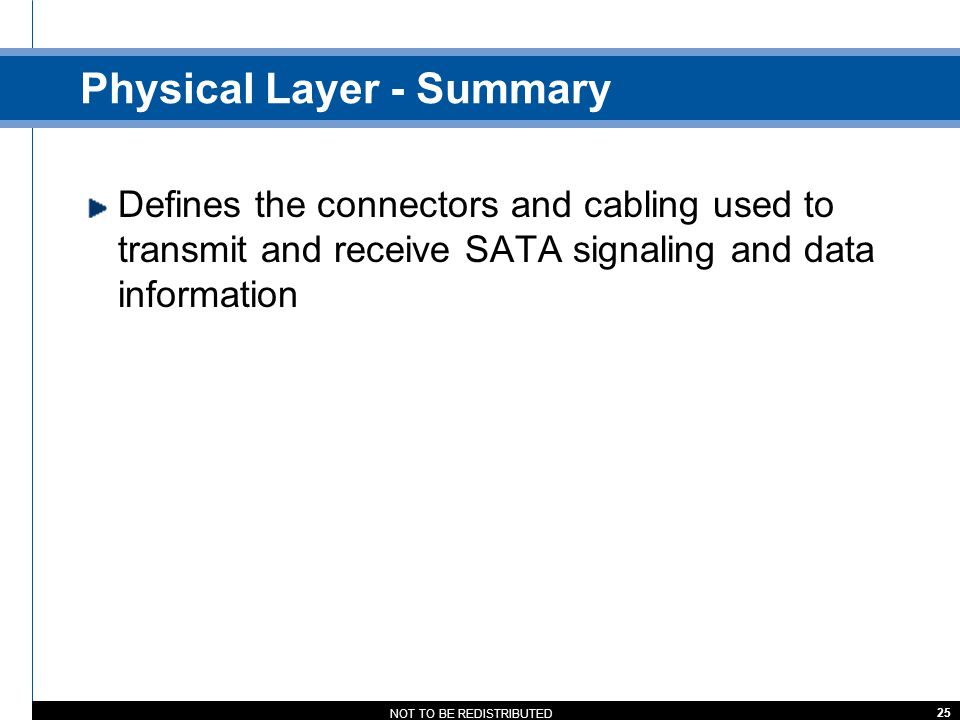 Physical Layer - Summary