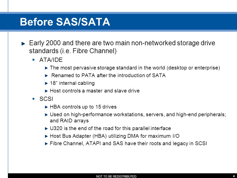 Before SAS/SATA Early 2000 and there are two main non-networked storage drive standards (i.e. Fibre Channel)