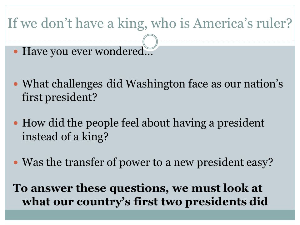 If we don't have a king, who is America's ruler