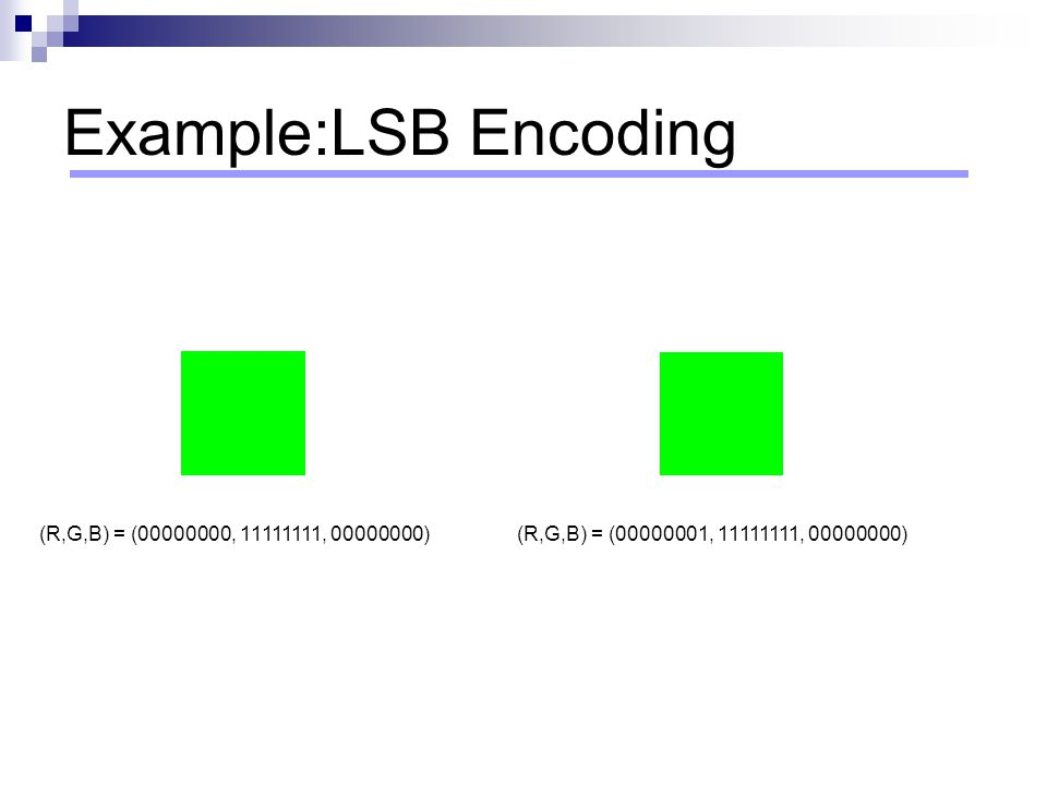 Example:LSB Encoding (R,G,B) = (00000000, 11111111, 00000000)