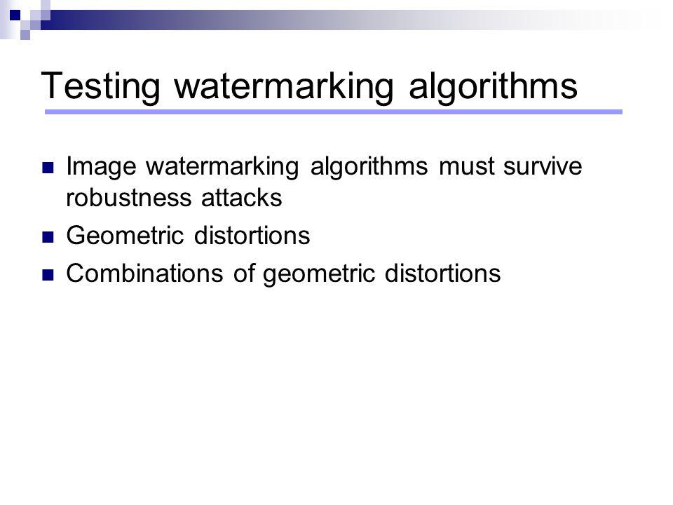 Testing watermarking algorithms