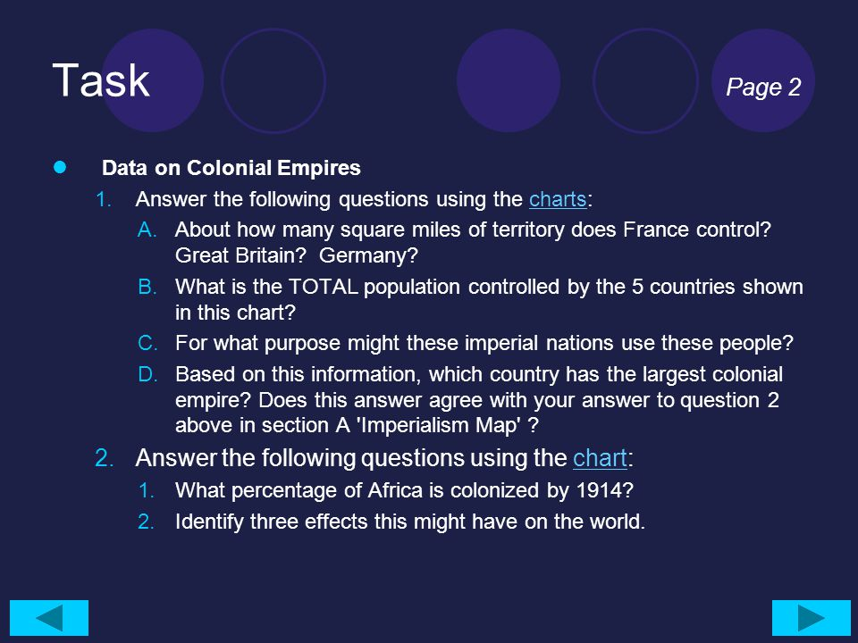 Task Page 2 Answer the following questions using the chart: