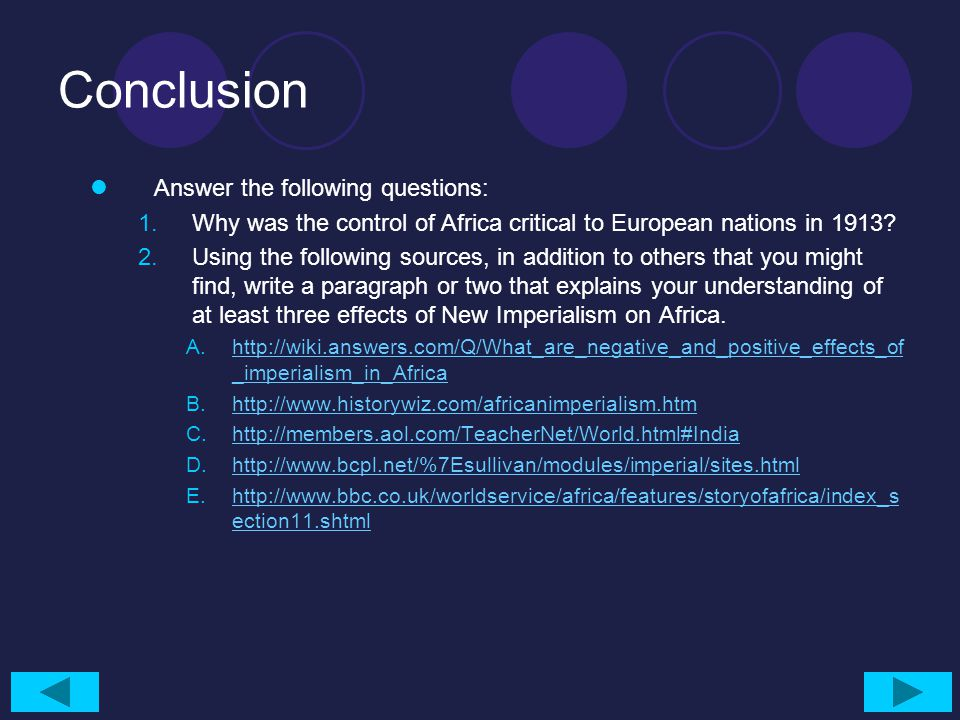 Conclusion Answer the following questions: