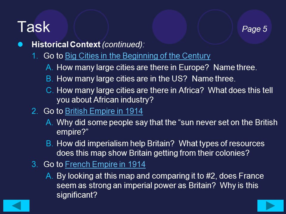 Task Page 5 Historical Context (continued):