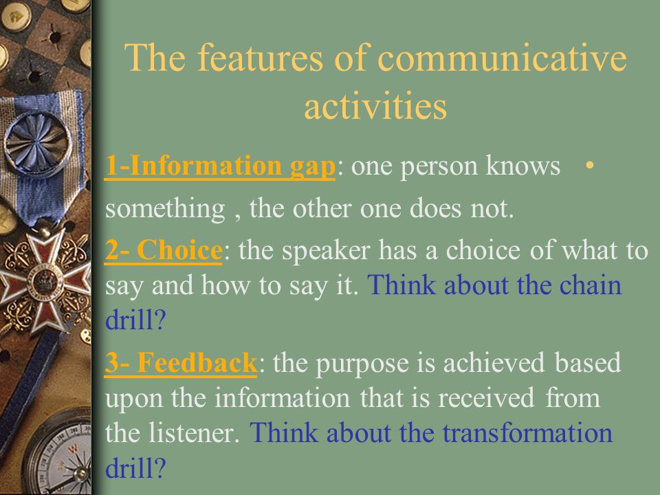 The features of communicative activities