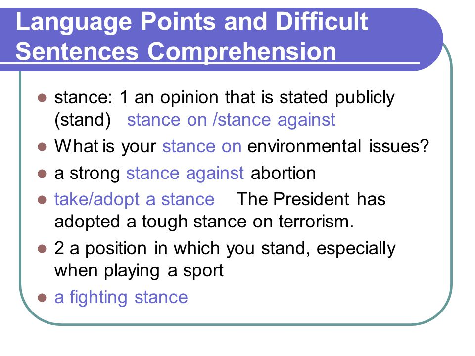 Language Points and Difficult Sentences Comprehension