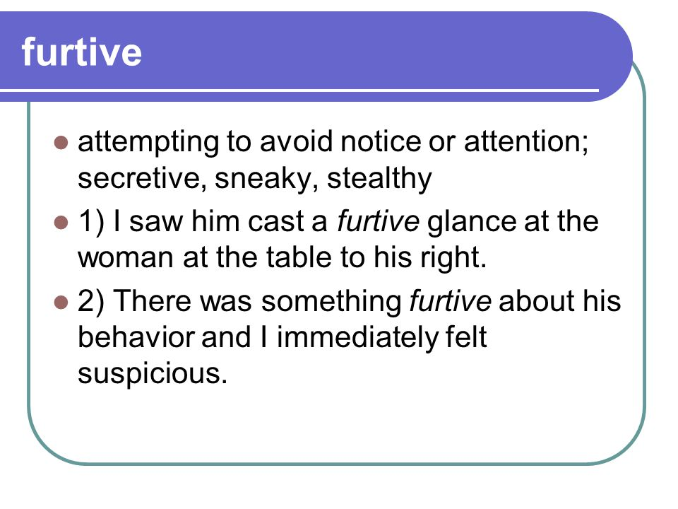 furtive attempting to avoid notice or attention; secretive, sneaky, stealthy.