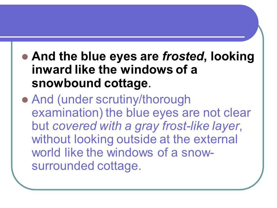 And the blue eyes are frosted, looking inward like the windows of a snowbound cottage.